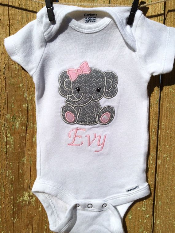 Cute Grey Elephant Onesie Bodysuit Creeper by SewPreshbyPesh
