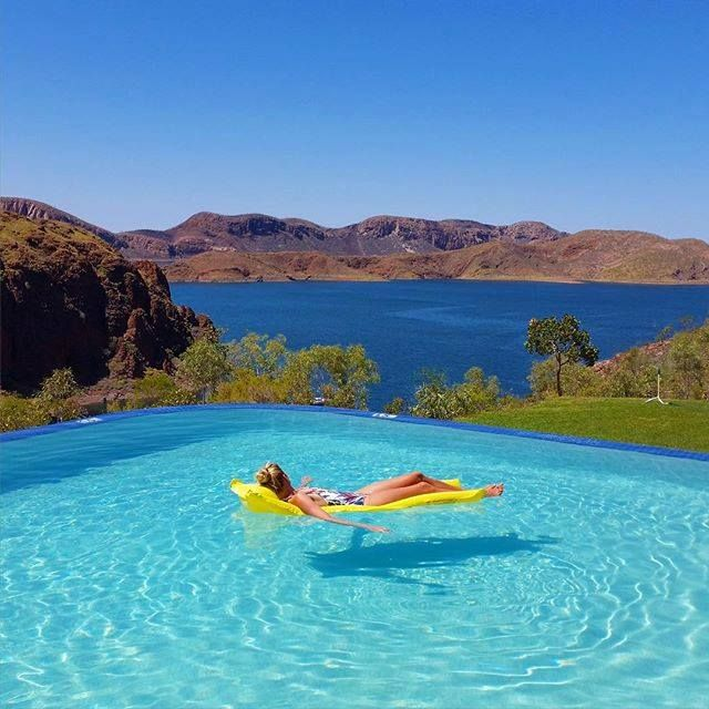 Infinity Pool at Lake Argyle Resort and Caravan Park, with views to Lake Argyle, Western Australia (photo by @connellpix)