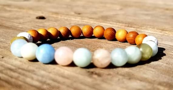 Diffuser Bracelet White Howlite Cedarwood Gemstone Bracelet Hematite