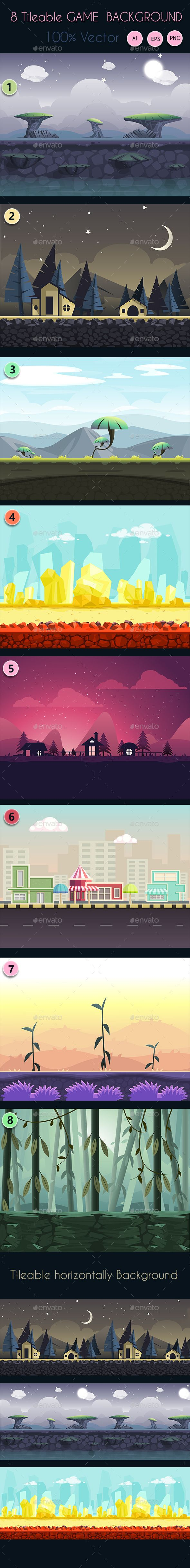 8 Tileable Vector Game Background : You can use this background for your game application/project. It suits for game developers, or indie game developers who want to make looping GUI cartoon game for Android or iOS Buy Now : http://graphicriver.net/item/8-tileable-vector-game-background/9226483?ref=graphicon