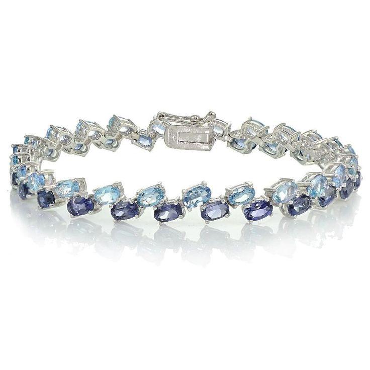 Glitzy Rocks Sterling Silver Tanzanite and Aquamarine 2-row Bracelet (Tanzanite), Blue, Size 7.25 Inch