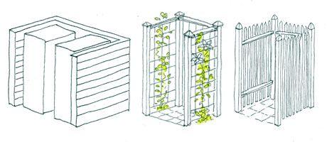 Tre förslag för att bygga in och dölja fula soptunnor.