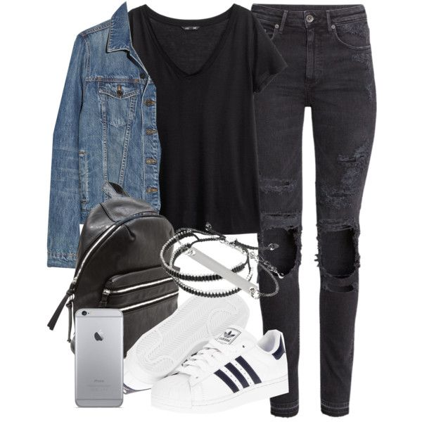 Cute Winter Outfits With Adidas Superstar Shoes And Scarf