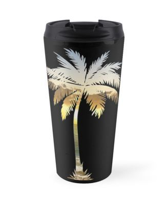 Palm Tree Beach Sunset Travel Mug | An I Live Life (ILL) logo. Love chilling on the beach & relaxing with all the California palm trees around you? Love traveling to tropical summer vacation spots? Travel with the perfect casual & authentic style for the fashion savvy coconut lovers. Add a cute & unique palm tree beach sunset novelty mug to your collection for the 2018 summer fashion season. Tag @ilivelifeill & share your post with your new trendy style travel mug. • Also buy this artwork…