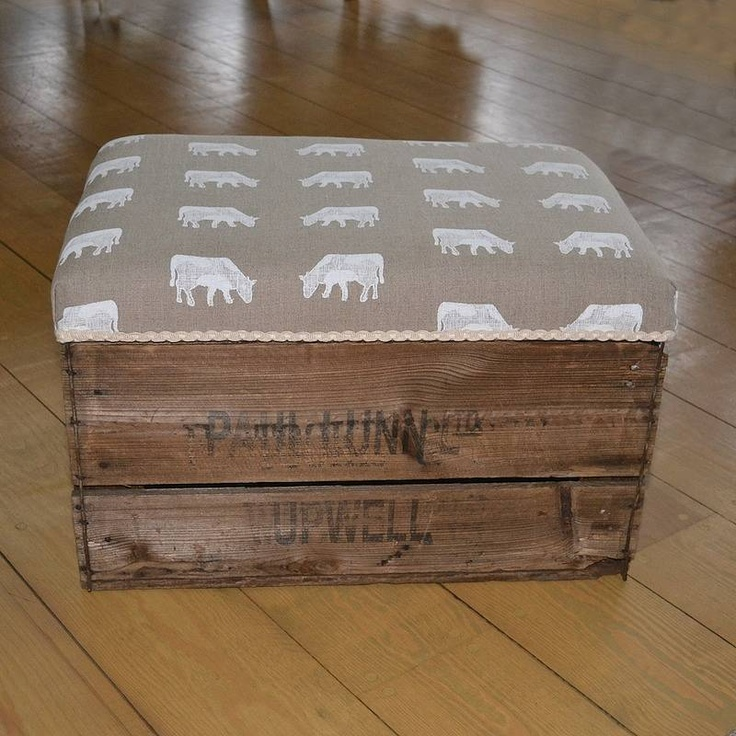 Apple Crate Storage Stool. I would use a different material for the top though...