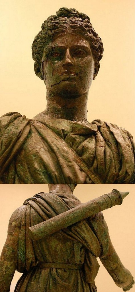 Details of Bronze statue of Artemis, Archaeological Museum of Piraeus / by MariPanda via Flickr