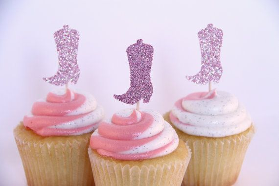 Pink Glitter Cowgirl Boot Cupcake Toppers - Set of 12 (Cowgirl/Cowboy/Western/Country themed Birthday/Shower/Party)