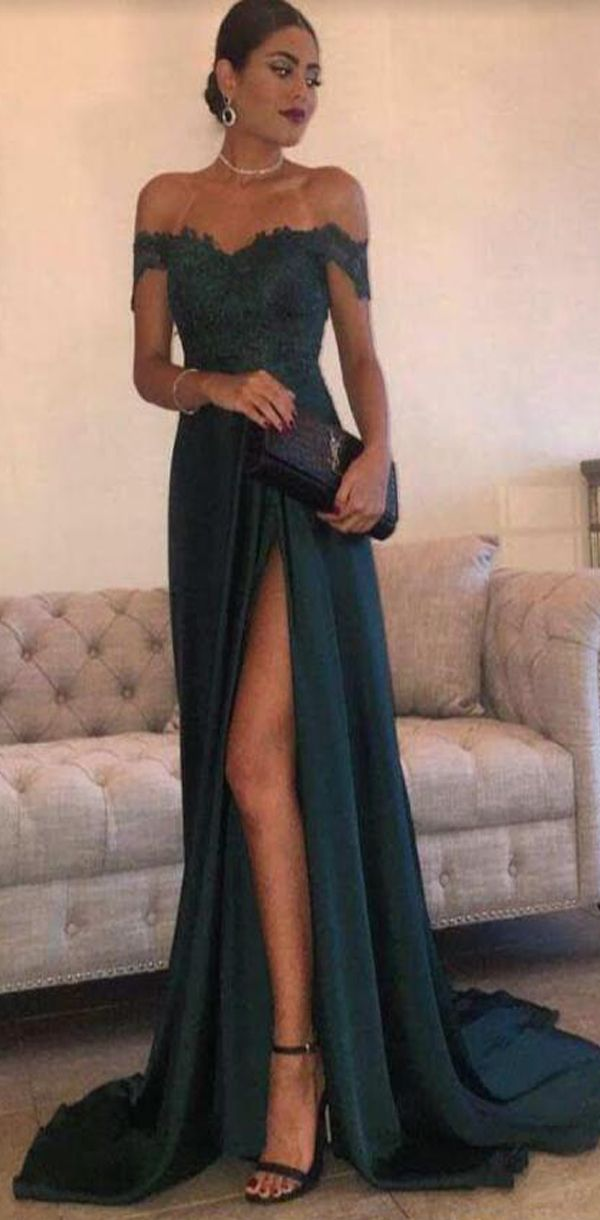 Off Shoulder Green Lace Evening Prom Dresses, Long Slit Prom Dress,