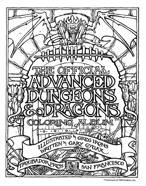 Official Advanced Full Dungeons and Dragons Coloring Book 1979 - Page 1 by Aeron Alfrey, via Flickr