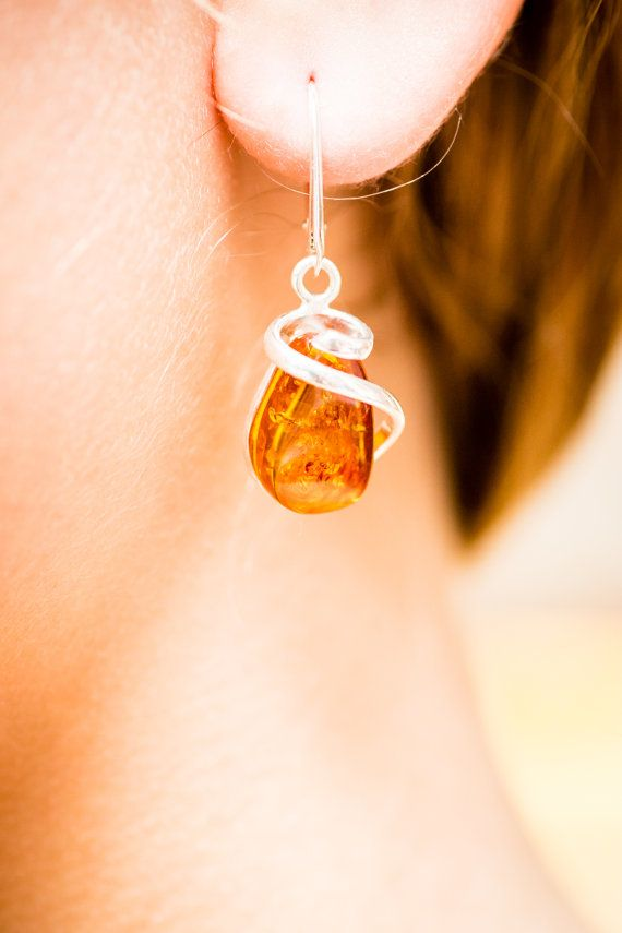 Amber Earrings Dangle earrings Silver and Amber by BalticBeauty925