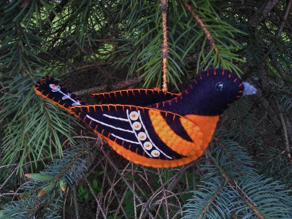 Wool Blend Felt Baltimore Oriole Ornament, Embroidered Baltimore Oriole, Folk Art Baltimore Oriole Ornament