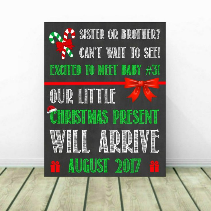 Christmas Pregnancy Announcement, Christmas Baby Reveal, 3rd Pregnancy Reveal, 3rd Baby, 3rd Child, December Pregnancy Announcement by PrintsInspiredByMyah on Etsy