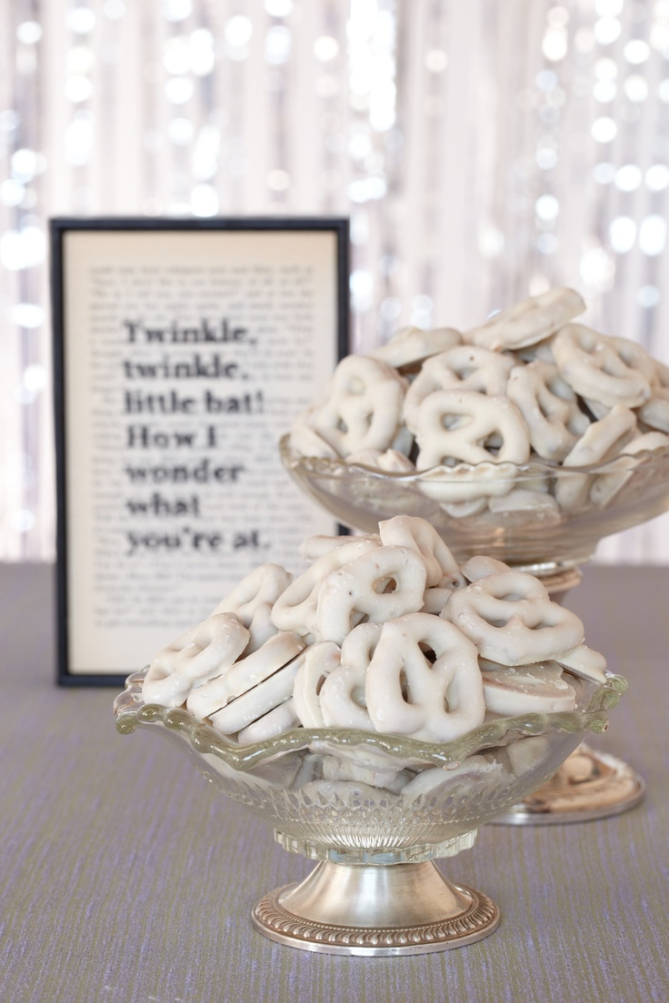 White Chocolate Pretzels. Dipped pretzels capture the magic of this baby shower theme in a bite-sized treat.