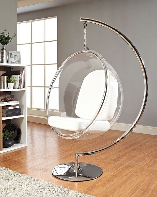 eero aarnio style bubble chair with silver cushion overstock great deals on modway living room chairs mobile