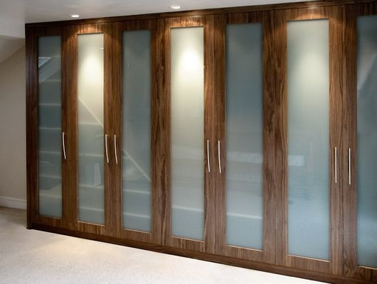 Built In Wardrobes Timber Finish With Opaque Glass Home