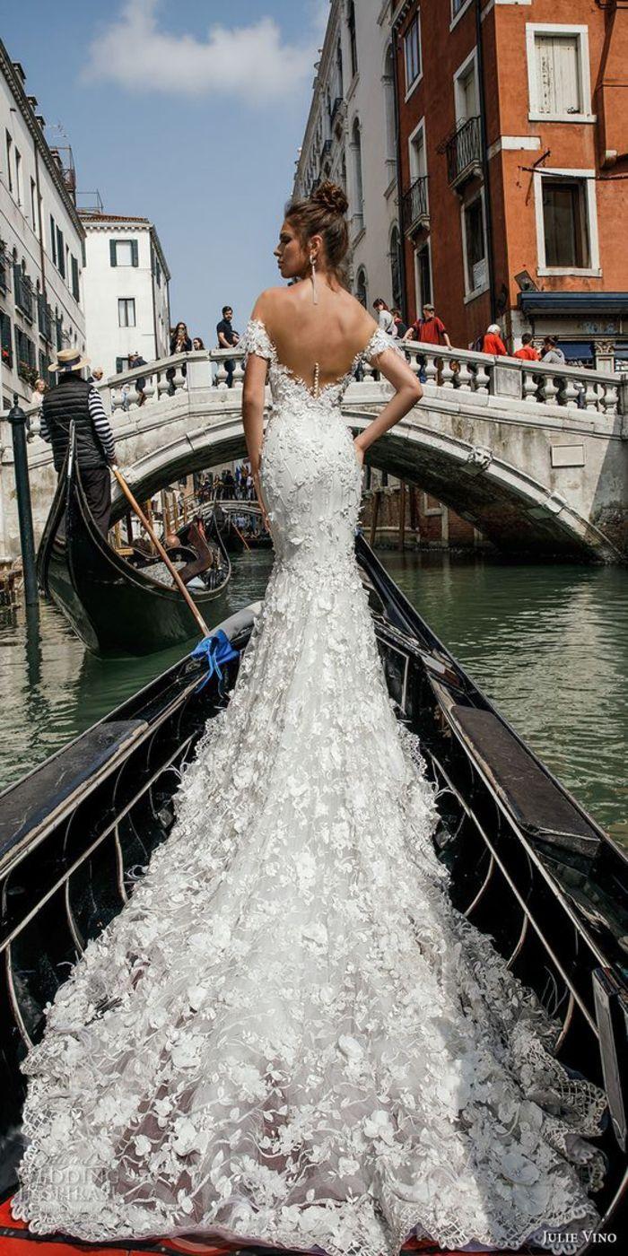 Brautkleid Meerjungfrau aus Spitze, rückenfrei, schulterfrei, mit
