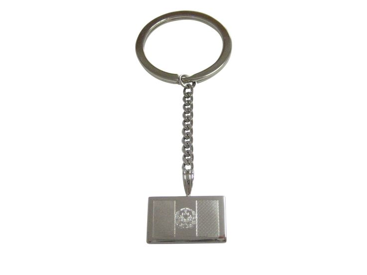 Silver Toned Etched Afghanistan Flag Pendant Keychain