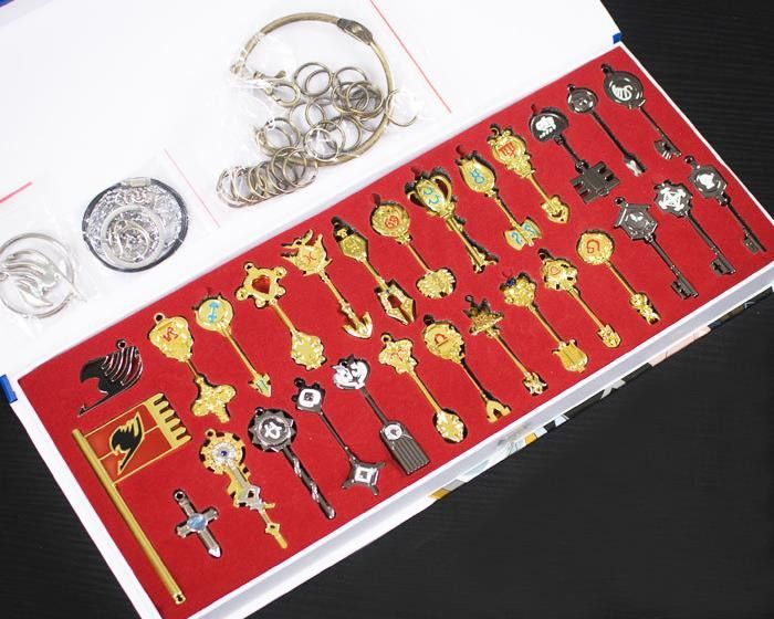 Fairy Tail Lucy Cosplay Key Keychain Scale & Free Pink Tattoo Heartfilia Sign of the Zodiac Gold Key Pendants 28-30 bundle set