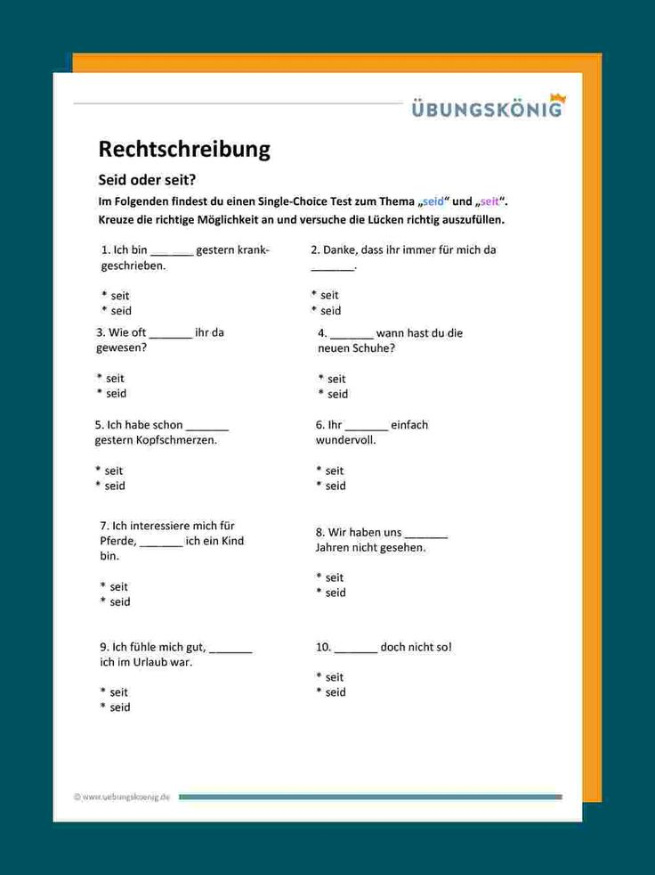 seid / seit in 2020 | Genaues lesen, Rechtschreibung