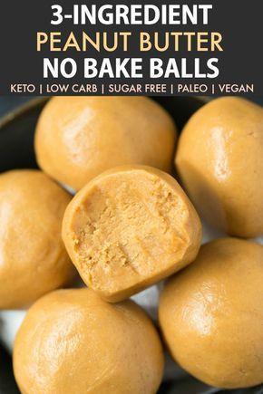 3-Ingredient No Bake Keto Erdnussbutterbällchen (Paleo, Vegan, Low Carb) – Leichte …