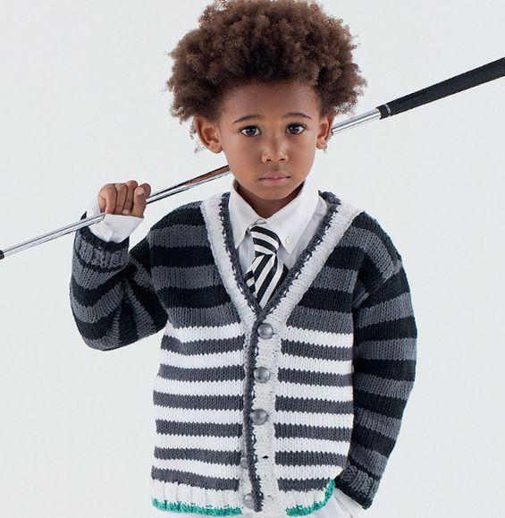 Model výstřih pruhované vesta chlapce - děti modely - PHILDAR