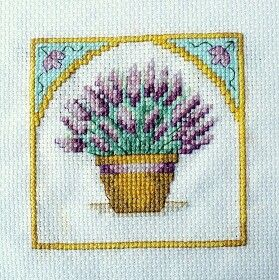 Lavender in pot, cross stitch