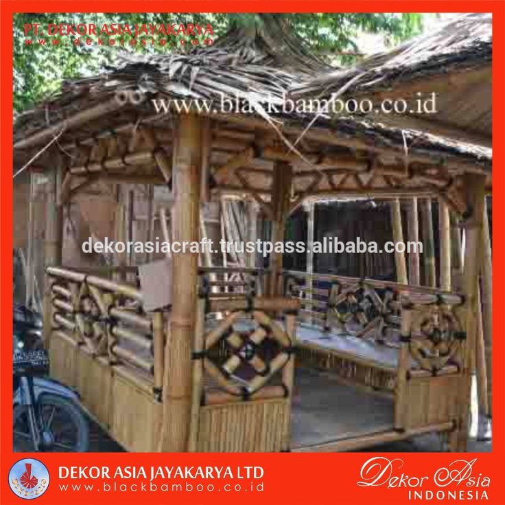 Decorative Bamboo Gazebo made in Java Indonesia with knock down system and very easy To assembly by yourself. We accept order of only 1 set of Bamboo Gazebo and shipped to your country. For Europe market our showroom and office in Anduze, South of France.