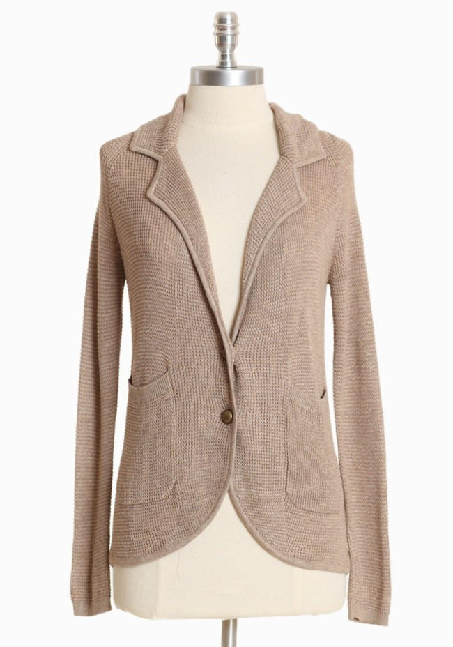 Edith Knit Blazer In Tan 72.99 at shopruche.com. Incredibly soft, this  cashmere