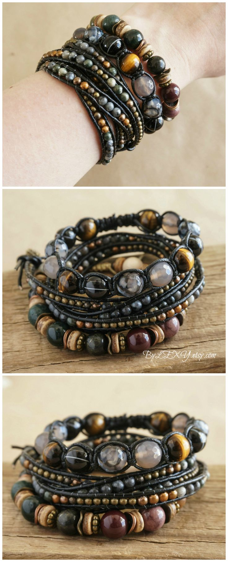 "Set of 3 Boho ""Earthy Shadows"" Multistrand Stack Bracelets, Bohemian Rustic Gypsy 5x Wrap Leather Hemp Shamballa Womens Mens Bracelets ByLEXY"