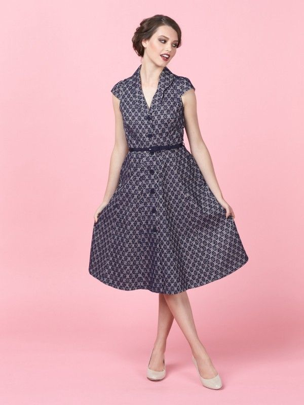 Review Australia || Kimba Lace Shirt Dress in Navy & Blush $279.99 Featuring gorgeous bonded lace on a Blush pink backing, the Kimba Dress is a vintage-inspired shirt dress. It has 50s inspired curved lapels, a classic a line skirt in a midi length and a navy grograin-covered belt to complete your look. Length: 106cm approx. Colour: Navy/blush