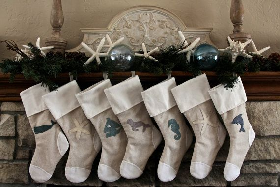 These stockings are designed and made by hand by my Aunt.  She has made all of my kids' stockings and we love them!   Laurelies Coastal Collection Christmas Stockings by Laurelies, $35.00
