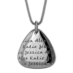 Customized pendant with children's names from Carved Creations.