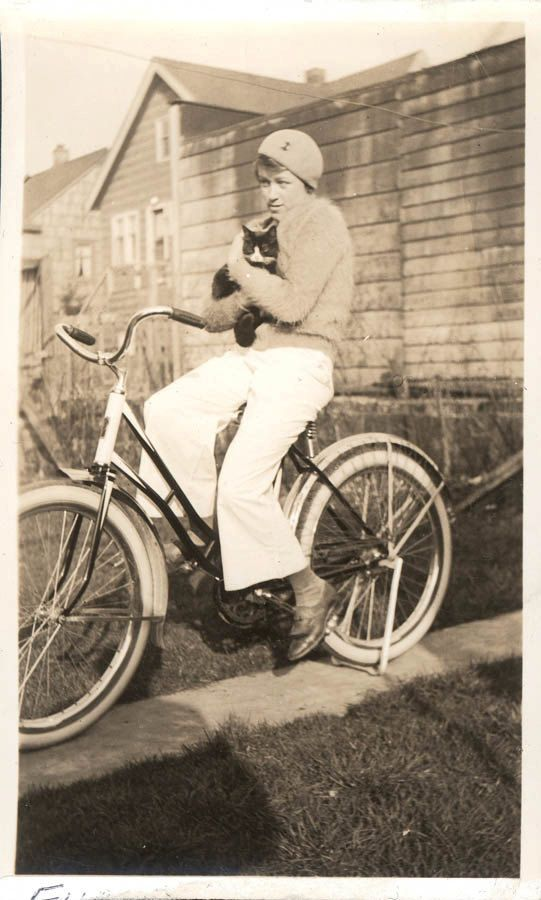 vintage photo Teen Girl on Bicycle w Mohair Sweater by maclancy, $4.75