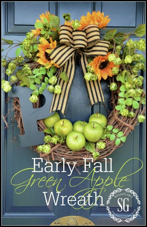 EARLY FALL GREEN APPLE WREATH Perfect for September and so easy to make!