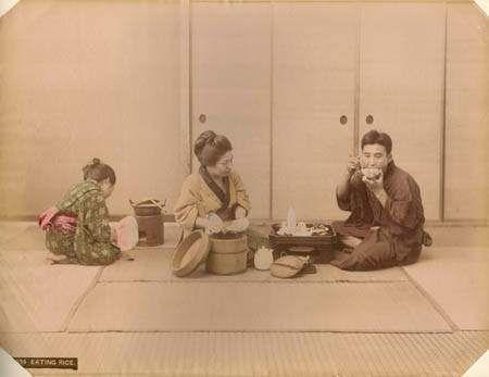 Eating Rice,  Albumen Photographs (63), Large Format, Meiji Japan
