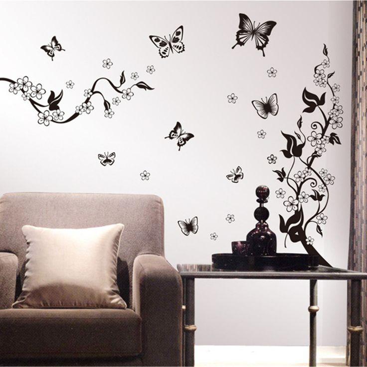3D Calssic Black Butterfly Flower Wall Sticker Home Decor Poster Flora  Butterflies TV Wall Decoration Adesivo Part 88