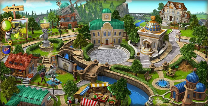 Screenshot of the Town in the online Farm Game: Farmerama