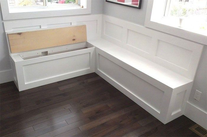 Placing A Bench With A Built In Style Under A Large Home Window Can Be A Fun Spot For Reading Kitchen Storage Bench Bench Seating Kitchen Kitchen Corner Bench