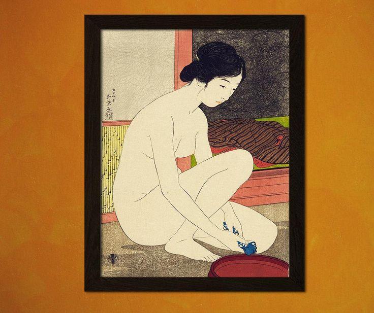 UITVERKOOP Japanse kunst afdrukken - vrouw in haar Bad 1915 - H.goyo Ukiyo-e Fine Art Print Retro Wall Decor Home Decor van Design(243790228) door VintageWallGraphics op Etsy https://www.etsy.com/nl/listing/250785089/uitverkoop-japanse-kunst-afdrukken-vrouw