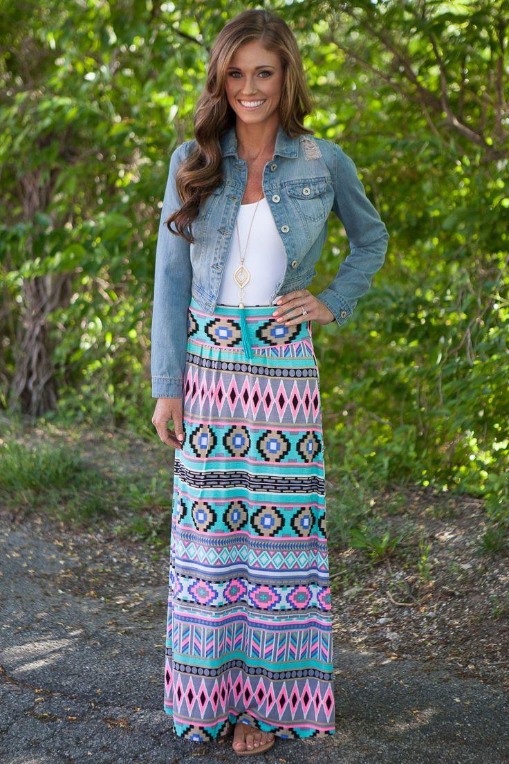 Magnolia Boutique Indianapolis - Tribal Print Maxi Skirt - Multi, $32.00 (http://www.indiefashionboutique.com/tribal-print-maxi-skirt-multi/)