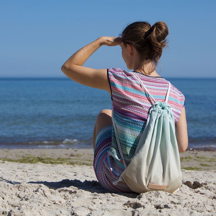 NOSKA SHOP #noskashop #RuckSack #OpalBlue #Semolina #Farmhouse #Baltic Sea #drawstring #bagpack