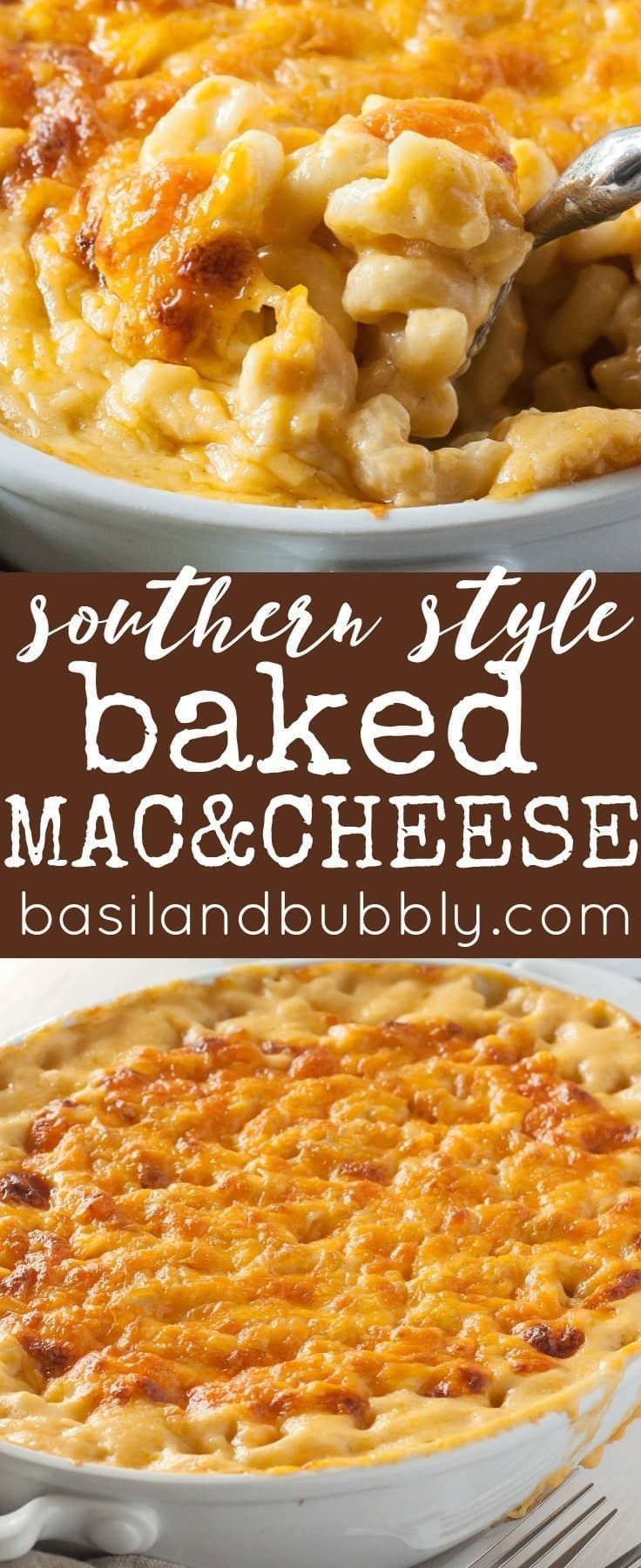 Absolutely perfect Southern Style Baked Macaroni and Cheese recipe.  Easy, delicious holiday or weeknight side dish that's the perfect amount of creamy.