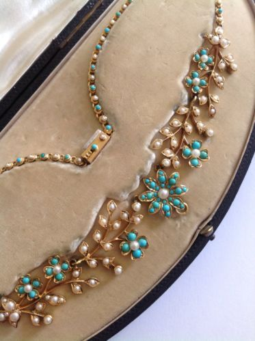 Superb Quality Victorian 15ct Gold Natural Seed Pearl Turquoise Necklace | eBay