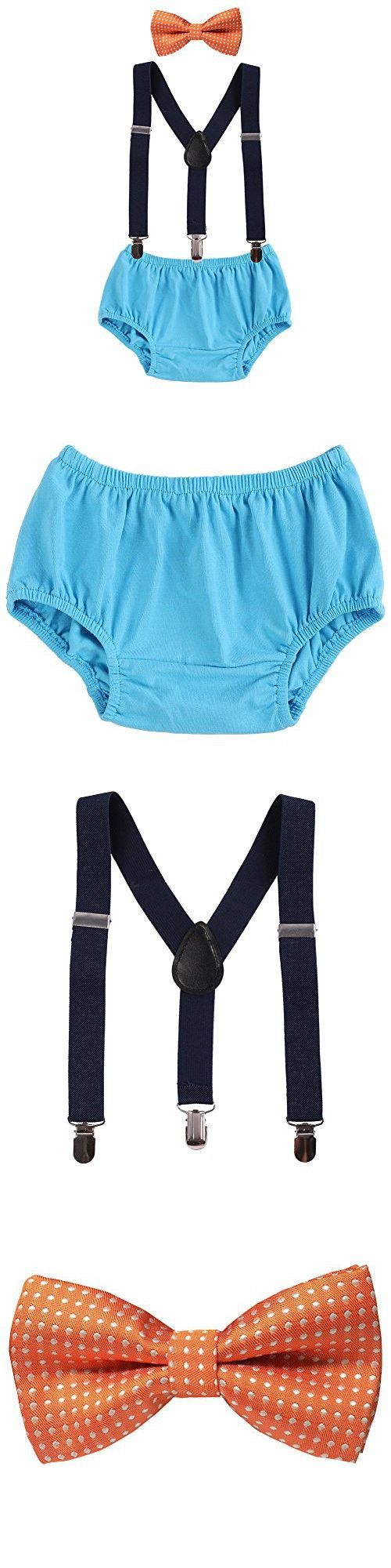 Baby Boys Adjustable Y Back Clip Suspenders Outfit First Birthday Bloomers Bowtie set Orange   Blue