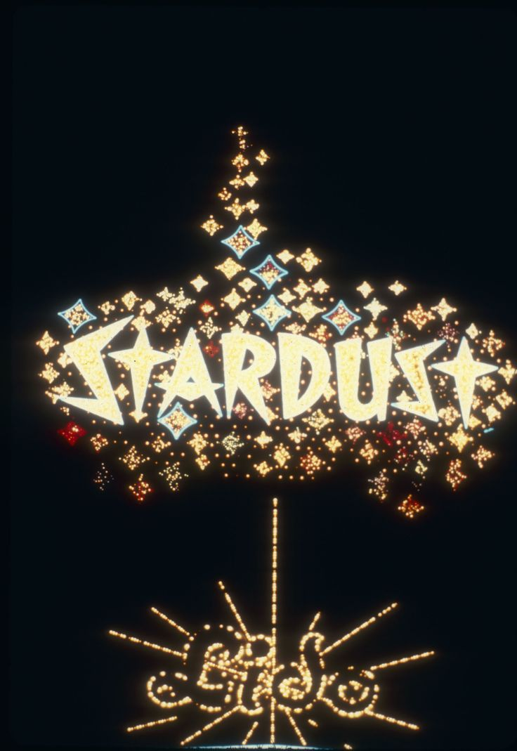 The neon marquee for the Stardust Hotel in Las Vegas, circa 1980s.  Part of the UNLV Libraries digital collection.