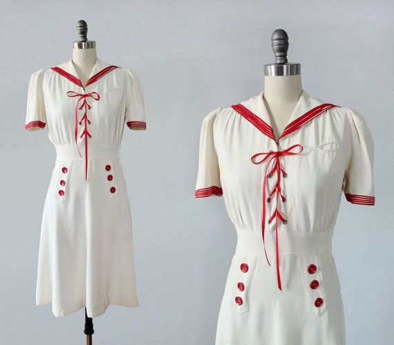 1930s Dress / Late 30s Tie Front Sailor Dress by GuermantesVintage Women's vintage spring summer fashion history historical clothing nautical