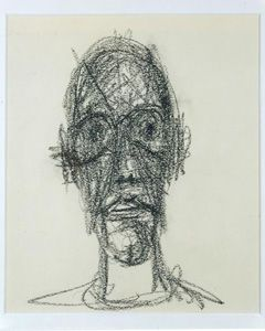 "Alberto Giacometti, ""Portrait de Diego,""1958. Black crayon on paper. 9 1/2 × 7 7/8 inches (24 × 20 cm). Private Collection."