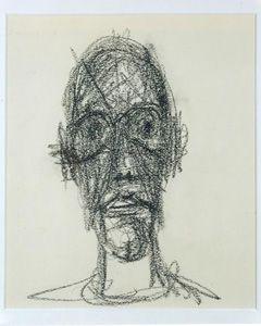 """Alberto Giacometti, """"Portrait de Diego,""""1958. Black crayon on paper. 9 1/2 × 7 7/8 inches (24 × 20 cm). Private Collection."""