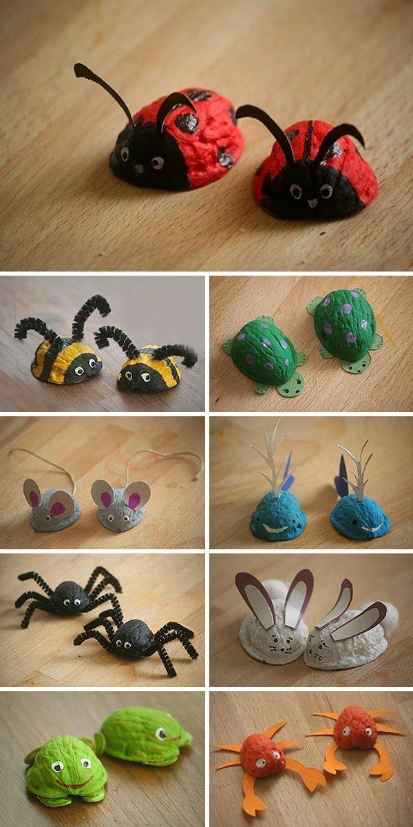 Walnussschalen: Ideen für Kinder Kreativität / Wir klicken Nüsse: Wa