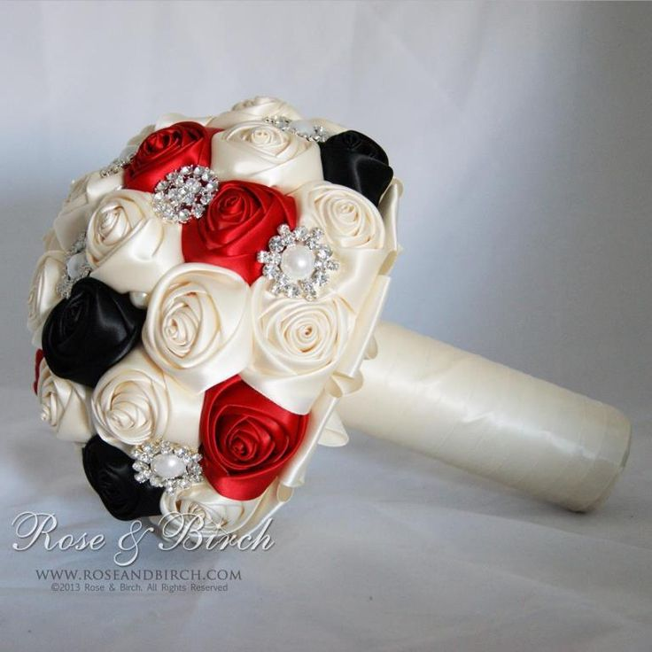 Medium Sized Bridal Wedding Bouquet In Red Black And Ivory With Gorgeous Bling Brooches